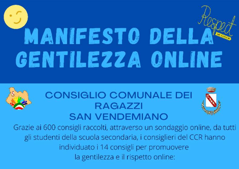 """San Vendemiano lancia il """"Manifesto della Gentilezza Online"""""""
