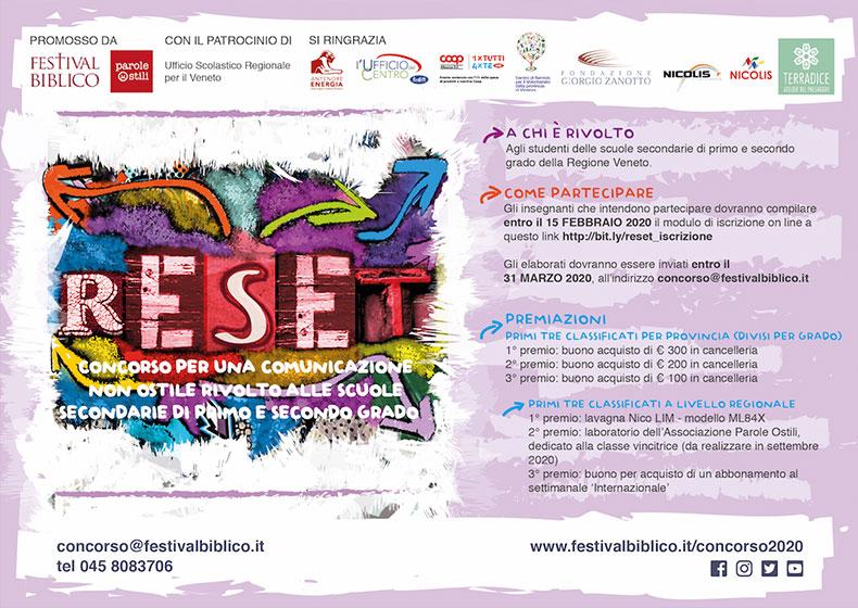 """""""Reset"""", concorso per una comunicazione non ostile rivolto alle scuole secondarie del Veneto"""